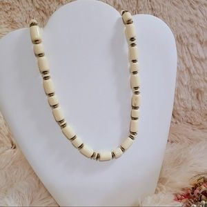 Vintage Faux Ivory Style Beaded Statement Necklace